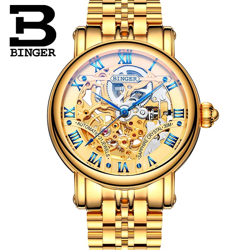 BINGER Luxury Gold Automatic Watches Skeleton Fashion Business Watch  Men Mechanical Wristwatch Full Steel relogio masculino binger full steel watch mechanical hollow transparent skeleton automatic self wind man reloj relogio wristwatch with rose gold