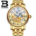 Suíça binger luxo ouro relógios moda homens relógio mecânico de esqueleto automático relógio de pulso de aço completa relogio masculino