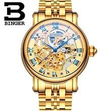 İsviçre binger lüks altın otomatik saatler İskelet moda İzle erkekler mekanik saatler tam çelik relogio masculino
