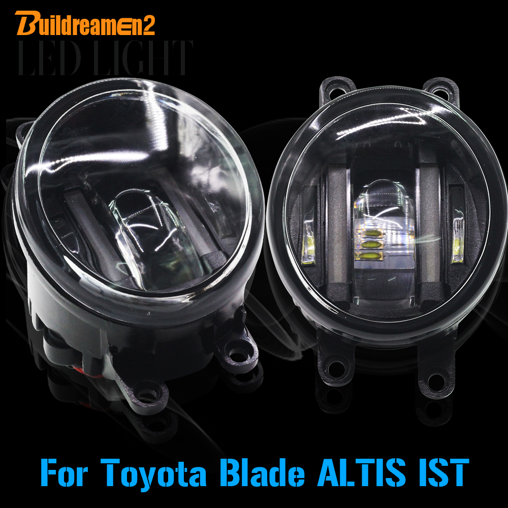 Buildreamen2 2 Pieces Car LED Light Front Left + Right Fog Light DRL Daytime Running Light White For Toyota Blade ALTIS IST cawanerl for toyota highlander 2008 2012 car styling left right fog light led drl daytime running lamp white 12v 2 pieces