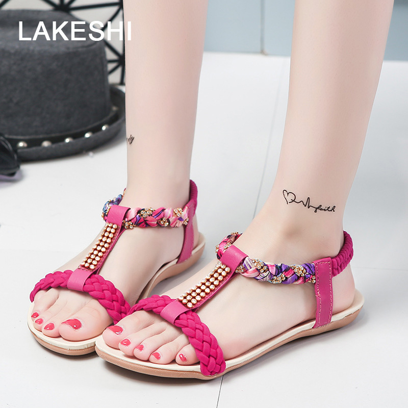 Bohemian Women Sandals Fashion Flip Flops Women Shoes 2018 Summer Flat Sandals Fashion Beach Sandals Ladies Shoes new casual women sandals shoes summer fashion slip on female sandals bohemian wild ladies flat shoes beach women footwear bt537