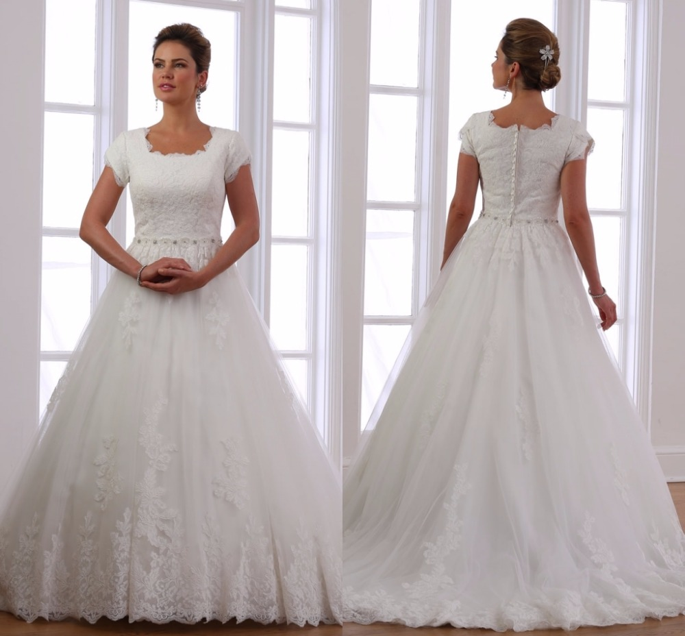 Ball Gown Modest Wedding Dresses With Short Sleeves