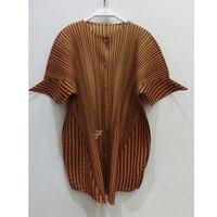 Changpleat/Новинка 2019 года; Весенняя женская рубашка в полоску; блузка Miyak со складками; модные однобортные Блузы больших размеров