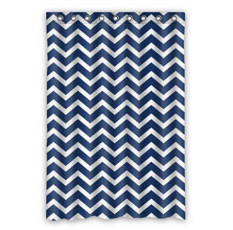 Custom Home Decor Blue Striped Sample Style Moden Shower Curtain Bathroom Waterproof Free Shipping China