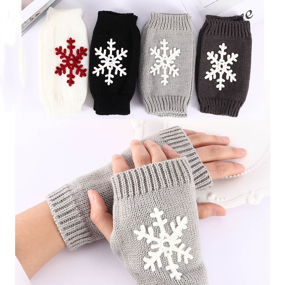 Snowflake Knit Half Finger Gloves Soft Warm Elastic Mittens Fashion For Women Winter Glove Winter Warm Clothing Accessories