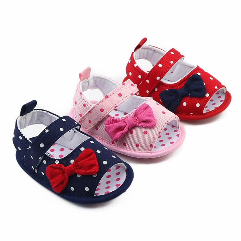 ARLONEET Newborn Baby Sandals Boy Girl Dot Anti-slip Prewalker Soft Shoes Toddler Bow Walking Crib Shoes Drop Shipping 30S64