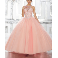 Illusion Ball Dress Vestido 15 Anos Halter Beading Sequins Backless With Jacket Quinceanera Dresses 2019