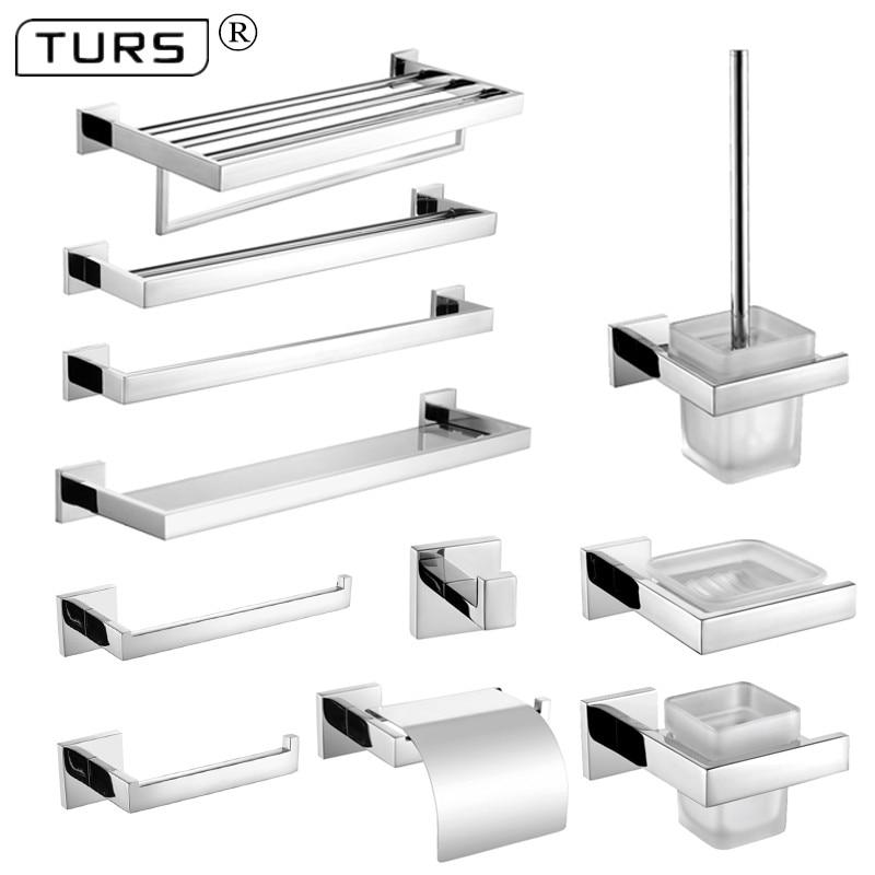 SUS 304 Stainless Steel Bathroom Hardware Set Chrome Polished Toothbrush Holder Paper Holder Towel Bar Bathroom