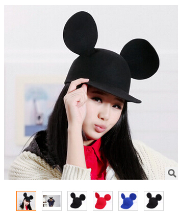New Brand Fashion 1PCS/Lot 100% Woolen Spring Women mouse Ear hat Mic key Cap Black Blue Red Hats Fadoras