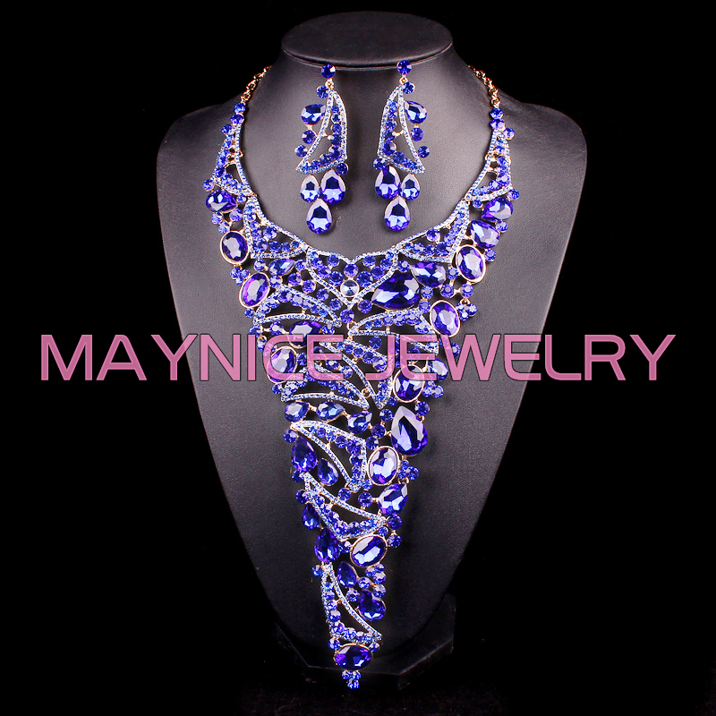 Luxury Bridal Jewelry Sets Gold Color Blue Statement Necklace Earrings Wedding Prom Party Rhinestone  Accessories Brides WomenLuxury Bridal Jewelry Sets Gold Color Blue Statement Necklace Earrings Wedding Prom Party Rhinestone  Accessories Brides Women