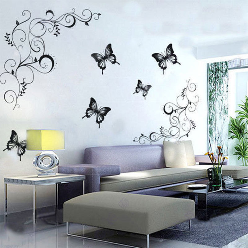 Calcomanías de pared de flor de vid de mariposa caliente Sala de estar Decoración del hogar etiqueta de la pared de pvc removible decorativa 051 mural