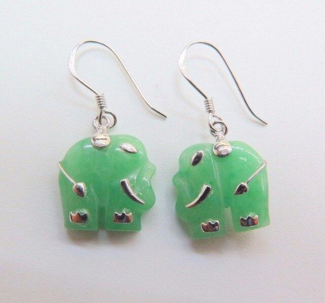 Fine Pure S925 Sterling Silver Green Jade Elephant Dangle Earrings