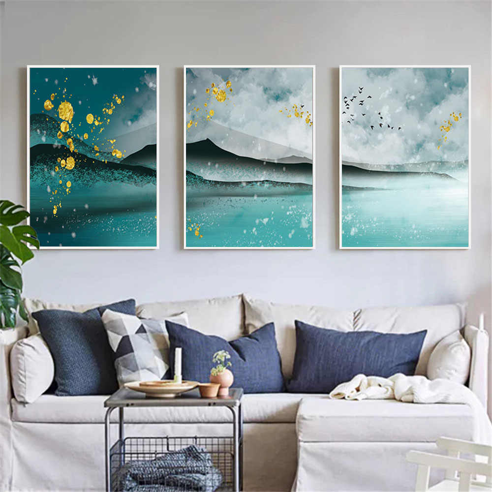 Canvas Wall Art Print Painting Abstract Landscape Picture for Living Room Home Decor Watercolor Scenery Poster Unframed