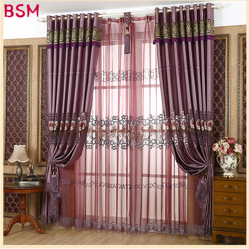 Europe Royal Luxury Embroidered Curtain With Beads For Living Room Imitated Silk Fabric Hollow Out Curtains For Bedroom AWB0404