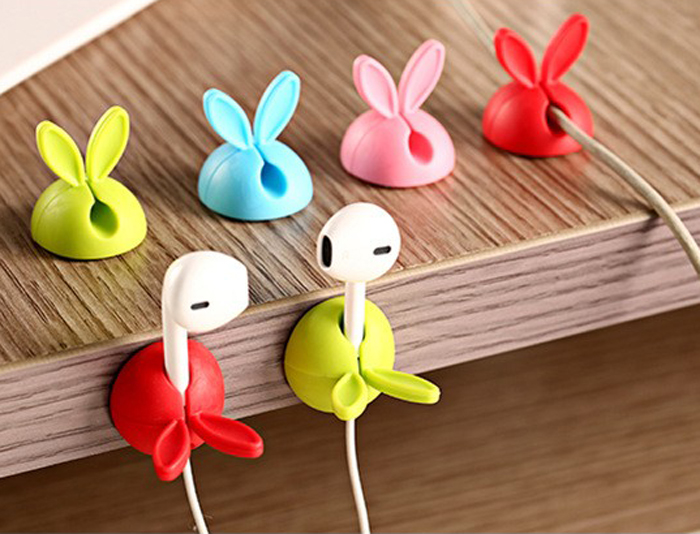 Office Supplies Rabbit Ears Data Line Fixed Device Silica Gel Cable Winder Desktop Viscose Electrical Wire Winding Device