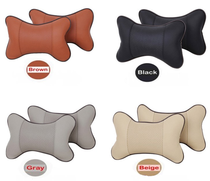 Pillow-Pad Cushion Headrest Auto-Safety-Pillow Orange Breathe Car Black 2pcs Gray Beige