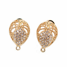 Stud Clip Earrings Post Drop Filigree Flower Base with Loop Paved CZ DIY Findings Accessories African Wedding Jewelry Making(China)
