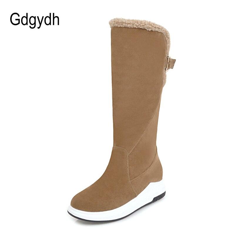 Beige Shoes Shoes Femmes Neige Dames Arrivée En 2018 Gdgydh Nouvelle Shoes Bottes Bonne Hiver brown Genou Shoes Haute Chaussures pink Boucle Qualité Chaud Métal black 0CxTBSqwx