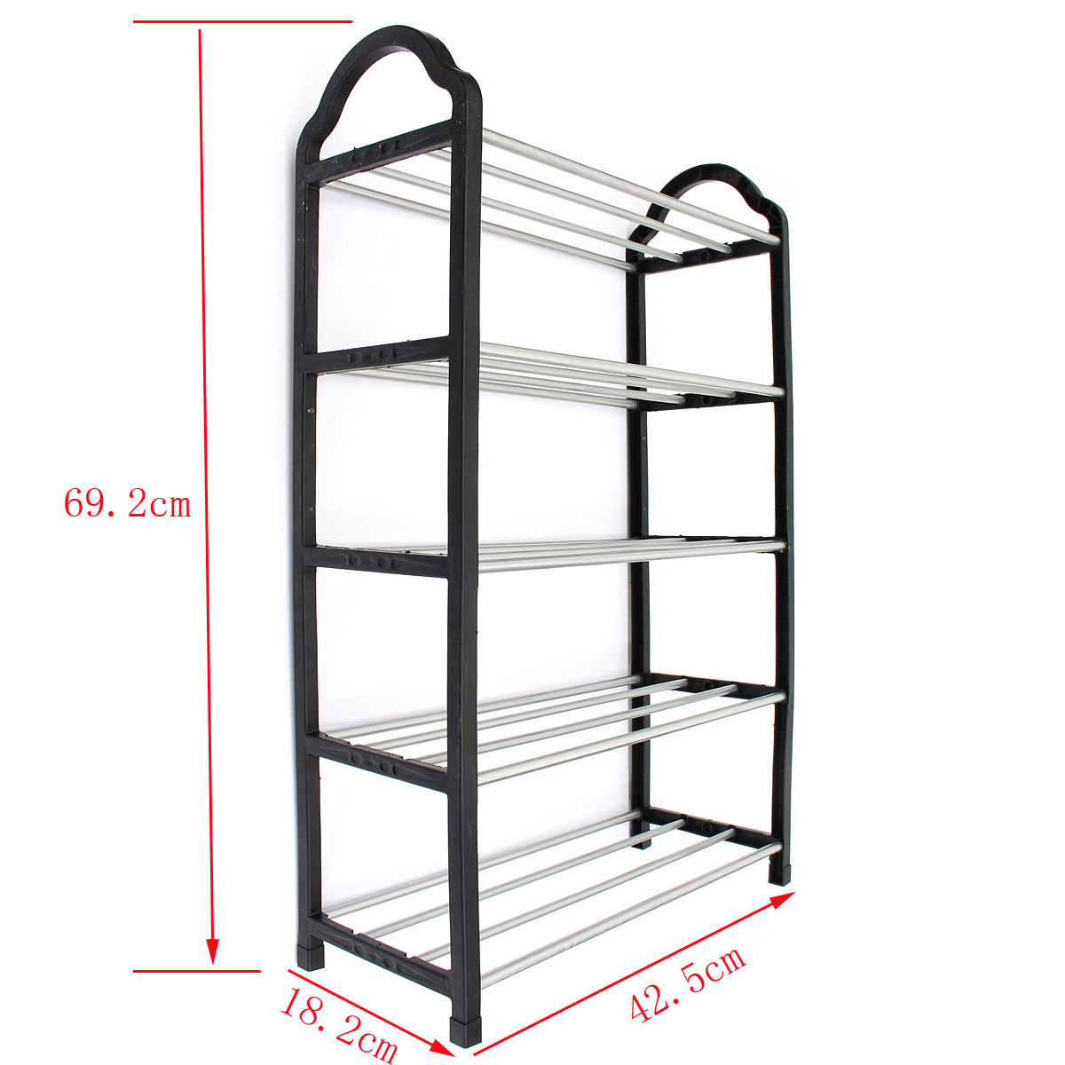 5 Tier Shoe Tower Rack Portable Excellent Quality Luxury Aluminum Stand  Space Saving Organiser Storage Unit Shelves Black In Storage Holders U0026  Racks From ...