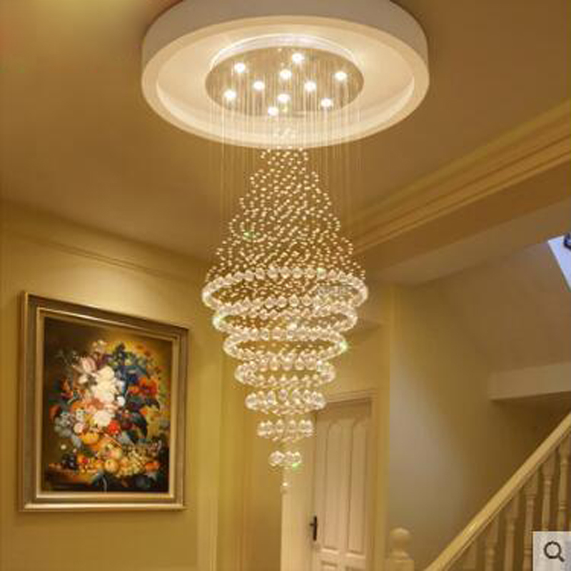 Hall crystal chandelier living room round penthouse villa penthouse stairwell long chandelier living room chandelier led lamp Pendant Lights     - title=
