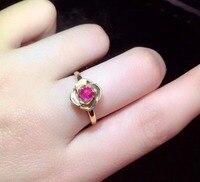 Fine Jewelry 18K Yellow Gold Real Natural Rubi Tourmaline Gemstone Diamond Wedding Engagement Female Rings for Women Fine Ring