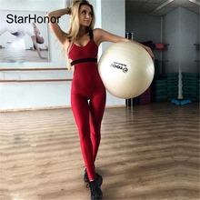 StarHonor Sexy Women Backless Halter Strap One-piece Sportswear Yoga Sets Leggings Gym Fitness Clothing Suit for Woman Jumpsuits
