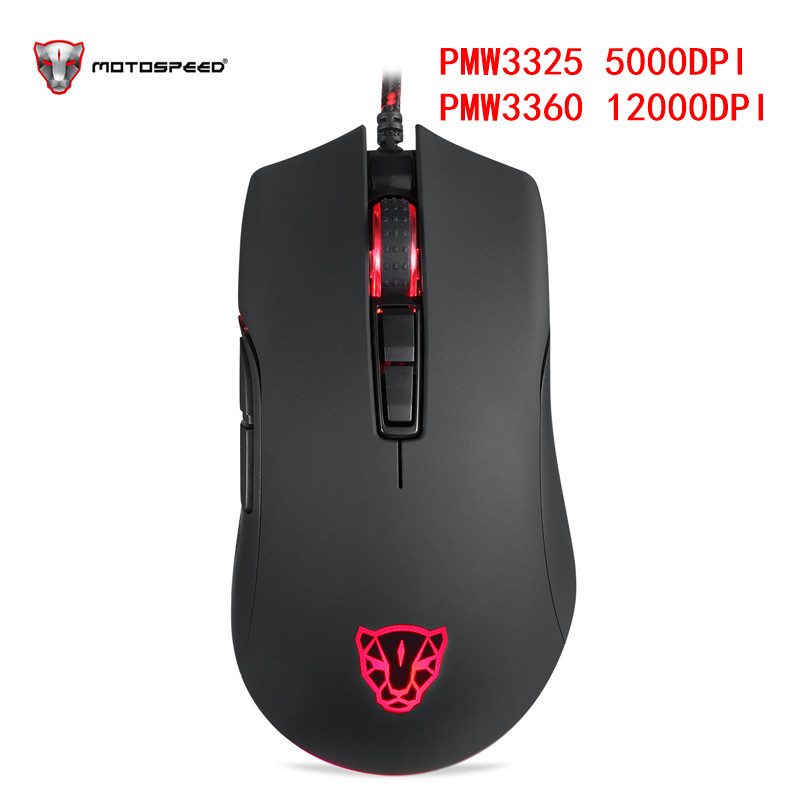 Motospeed V70 USB Wired Gaming Mouse PMW3325 5000DPI PMW3360 12000 DPI Computer RGB LED Multi-Color Backlight Send With Box