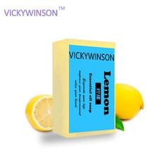 Vickywinson óleo essencial de limão natural artesanal sabão branqueamento hidratante limpeza profunda remover sarda banho corpo xz8