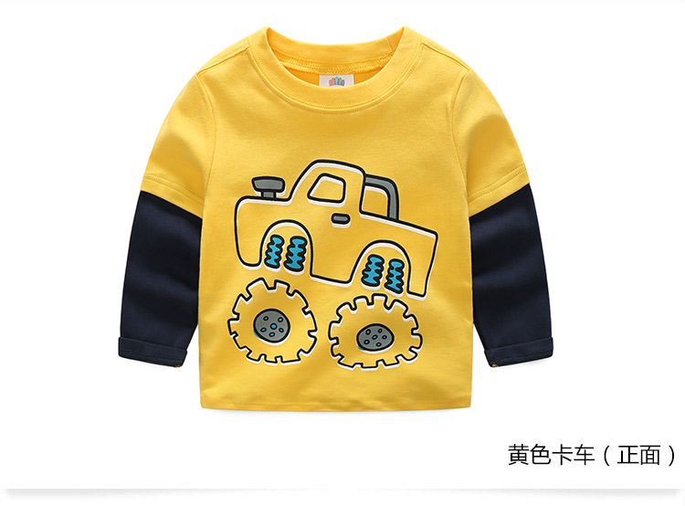 2018 Spring Autumn For 2-9 10 Years Children Cotton Striped Patchwork Cartoon Car Bus Truck Baby Kids Boys Long Sleeve T Shirts (30)