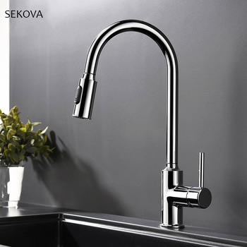 Chrome Plated Brass Cold And Hot Kitchen Faucet Pull Out Kitchen Sink Water Mixer Tap with Two Spray Mode Single Handle donyummyjo factory direct sale modern solid brass pull out spray chrome brass kitchen faucet mixer tap single handle two spouts