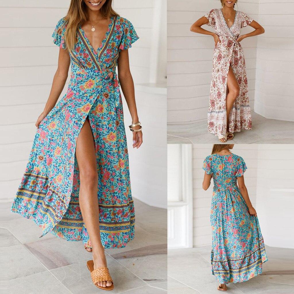 Платье Летний, бохо-стиль v-образным вырезом Цветочные платья сексуальные женщины вечернее пляжное платье шифон Длинный Сарафан vestidos 19MAR17