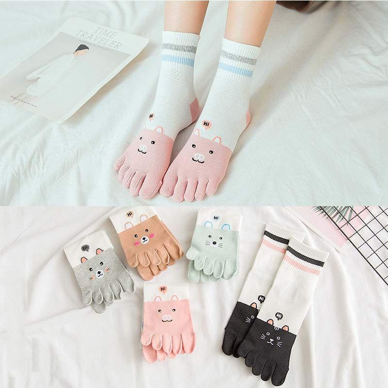 1 Pairs/Lot Five Finger Socks Women Socks Slippery Autumn Winter New Tube Socks Cute Cartoon Cotton Toe Socks