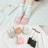 1 Pairs/Lot Five Finger Socks Women Socks Slippery Autumn Winter New Tube Socks Cute Cartoon Cotton Toe Socks 5 Colors
