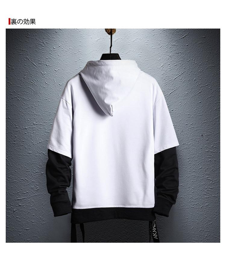 Hoodie Sweatshirt Mens Hip Hop Pullover Hoodies Streetwear Casual Fashion Clothes colorblock hoodie 21