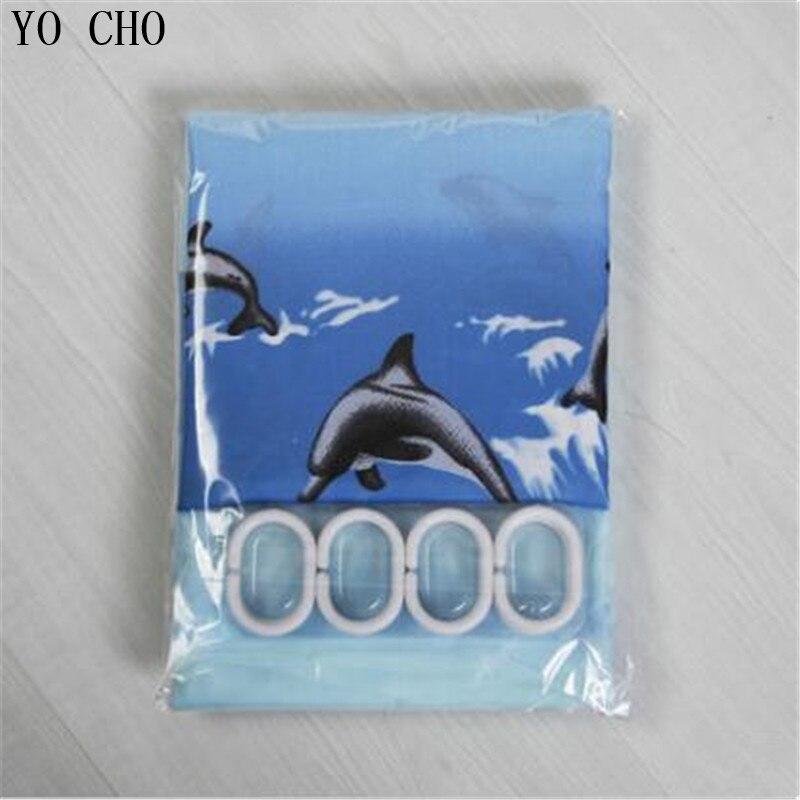 Blue bathroom curtian polyester dolphin sea shower curtain bath curtain thicken Waterproof customized shower curtains with hook in Shower Curtains from Home Garden