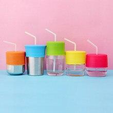 Универсальная силиконовая непроливающаяся чашка-непроливайка, соломенные крышки, стеклянная посуда, крышка для воды, напиток, Герметичная Бутылка с соломинкой, Детский обучающий напиток