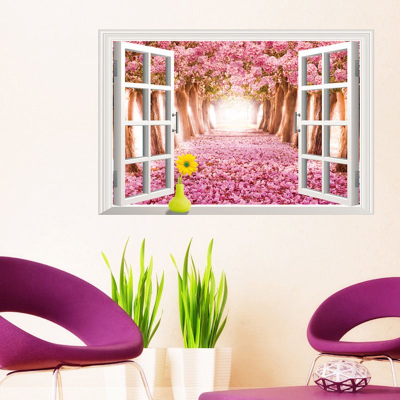New Cute Kawaii Sakura Window Removable Home Decor Vinyl Art Wall Stickers Flower Decal Wallpaper For living Room Bedroom
