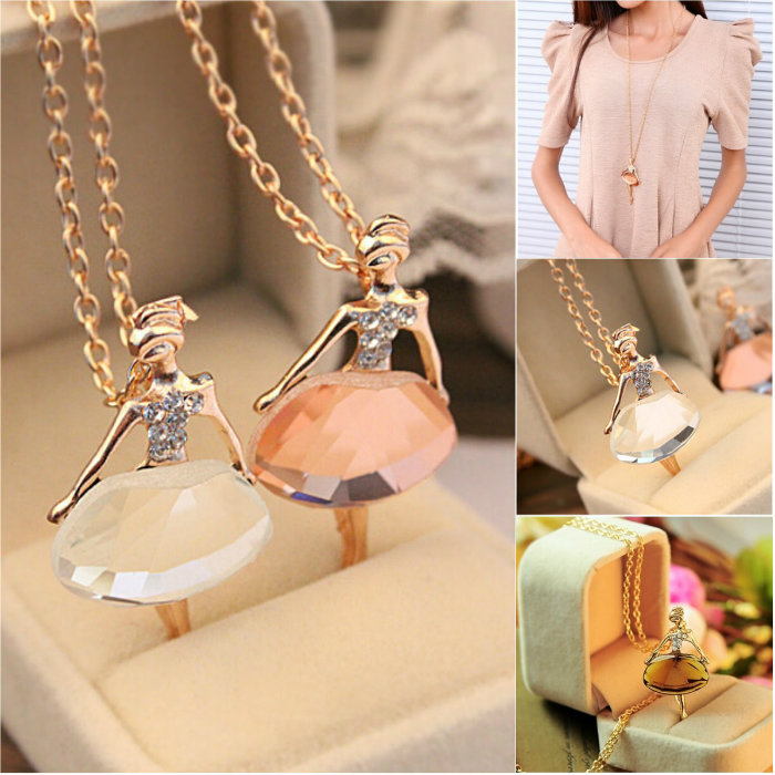 New Ladies Girls Fashion Cute Ballet Girl Pendant Chic Choker Crystal Chain Necklace Lovely Jewelry Party