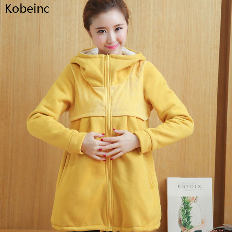 Kobeinc Plus Cashmere Thick Coat For Pregnant Women Autumn Winter Warm Maternity Clothes Solid Casual Pregnancy Outerwear maternity clothes new winter fashion thicken warm hoodies plus size parkas coat women clothes for pregnant pregnancy coats e630