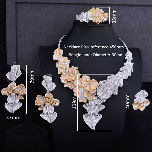 Super Luxury Geometry Leaf Flower Cubic Zirconia Jewelry Set