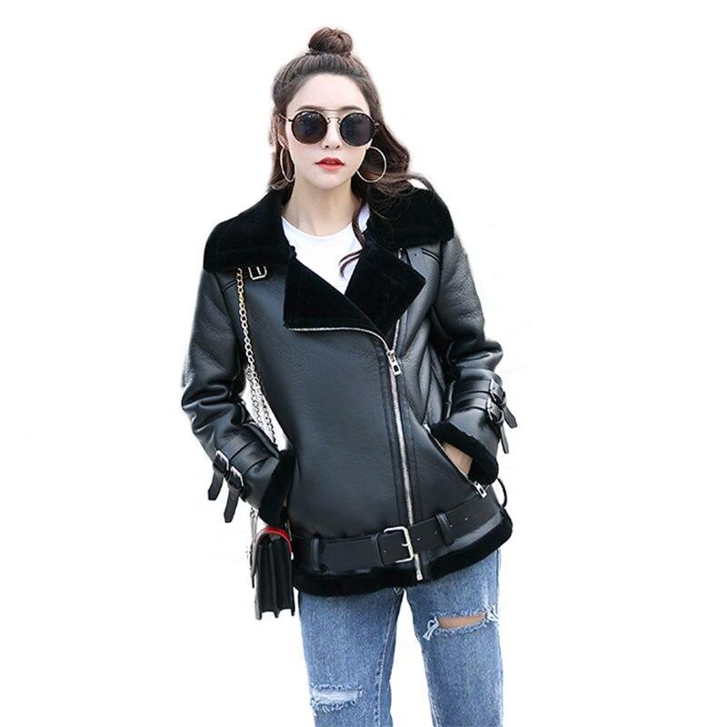 Femmes De Mode Noir Véritable En Cuir Manteaux Mince V Cou Moto et Motard Manteaux En Peau de Mouton Réel Manteaux De Fourrure Laine Manteaux
