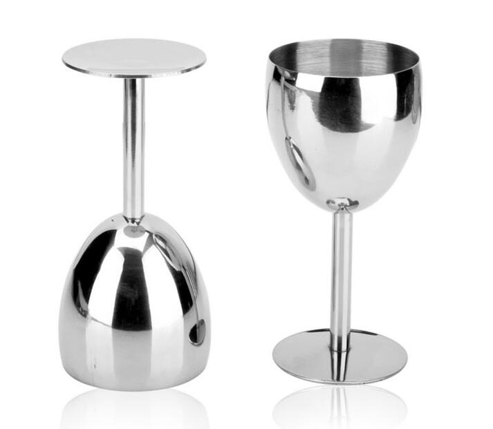 2pcs lot stainless steel wine glass drinking cup goblet champagne glass in wine glasses from. Black Bedroom Furniture Sets. Home Design Ideas