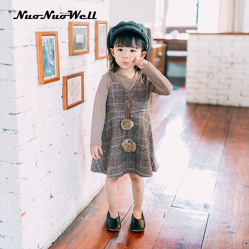 NNW 2017 Girl Autumn Set Clothes Long Sleeve T Shirt +Vest Dress 2pcs Baby Girls Sets Children 2-7Y Kids Outfits Girls Clothes 2pcs children outfit clothes kids baby girl off shoulder cotton ruffled sleeve tops striped t shirt blue denim jeans sunsuit set
