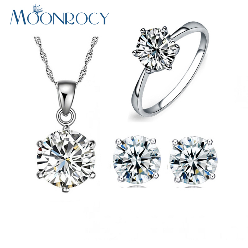 MOONROCY Free Shipping Fashion Jewelry Wholesale CZ Crystal Necklace Earring and Ring Wedding Jewelery Set for Women