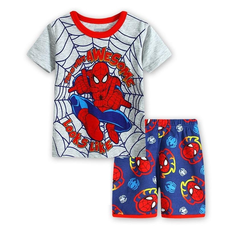 11 Kids Boys Girls Pajamas Cartoon Spider-Man Set Baby Sleepwear Cotton Superhero Costumes Shorts + Short Sleeve Tees Baby Clothing
