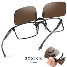 Soxick Unisex Clip on Polarized Rimless Sunglasses Flip Up for Prescription Glasses Ultra Lightweight Driving Eyewear