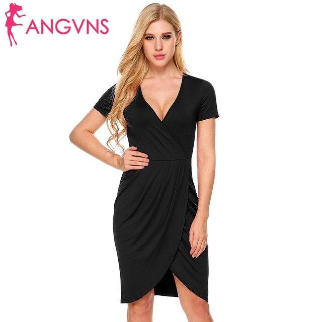 8bb8c4bc4f21 ANGVNS Women Office Bodycon Dress Elegant Deep V-Neck Work Peplum Short  Sleeve Draped Faux Wrap Back Split Sheath Pencil Dress