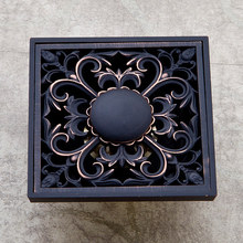 цена на Antique Black Shower Drains 10*10cm Square Bath Drains Strainer Art Carved Bathroom Floor Drain Hair Waste Grate Drain HJ-8711R