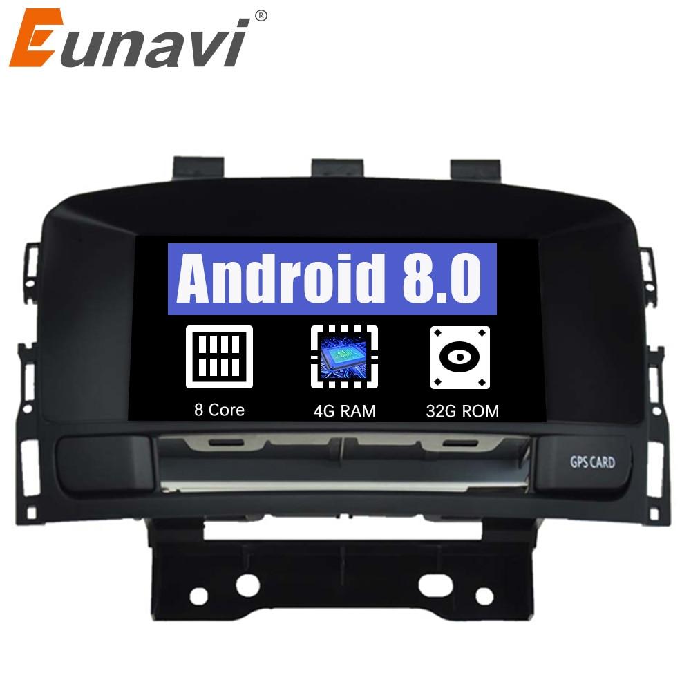 Eunavi Octa Core 4GB RAM Android 8.0 Car DVD Player For Buick Verano Vauxhall Opel Astra J Car Radio GPS Navi Head Unit Stereo цена