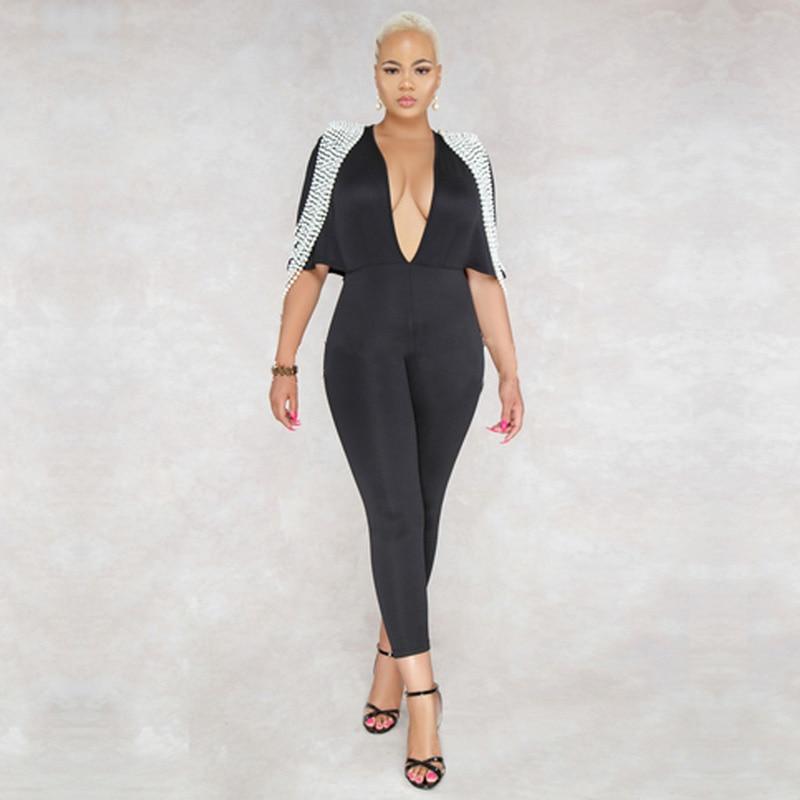 Rayonne Femmes Perles Cou V Qualité Celebrity Profonde Bandage Nouvelle Haute Rouge Mode Dropship De Salopette Sexy Luxe Noir 2018 RIzqApA